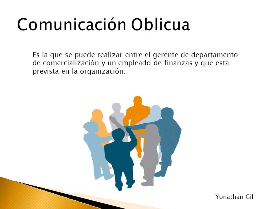 Es la que se puede realizar entre el gerente de departamento de comercialización y un empleado de finanzas y que está prevista en la organización. Yon