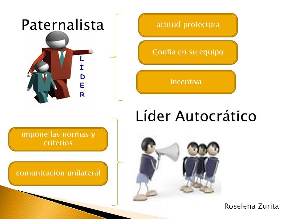 Paternalista actitud protectora Confía en su equipo Incentiva Líder Autocrático impone las normas y criterios comunicación unilateral Roselena Zurita