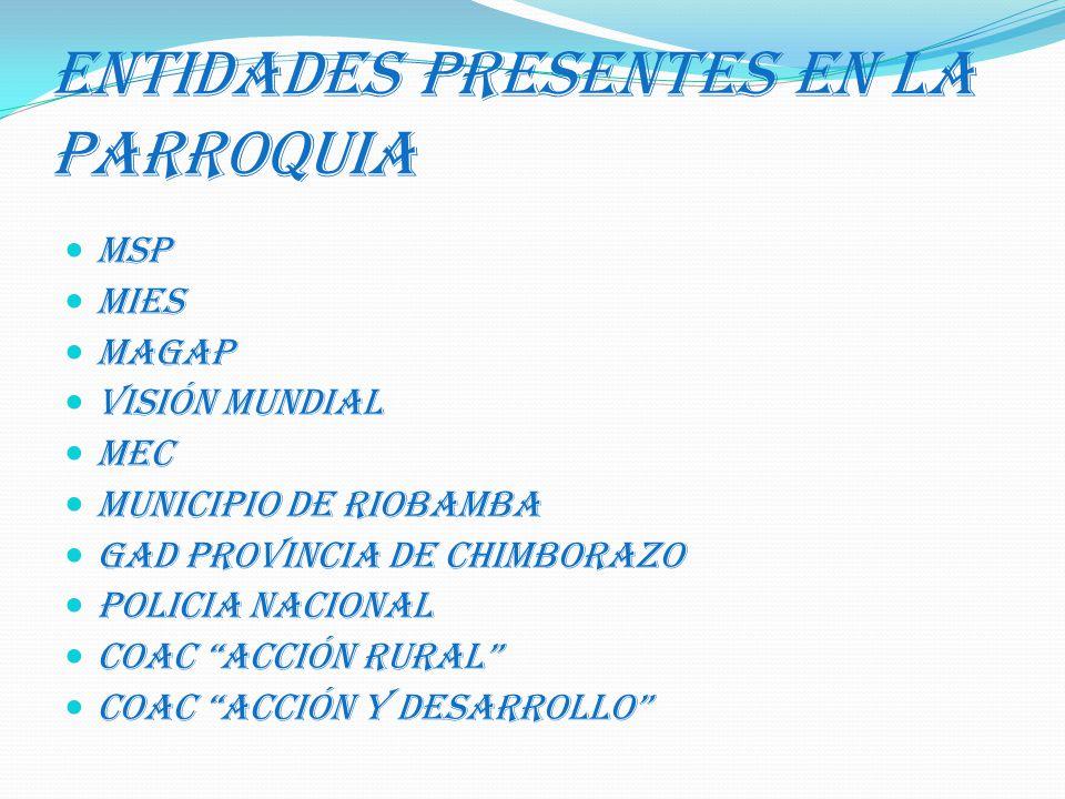 ENTIDADES PRESENTES EN LA PARROQUIA MSP MIES MAGAP VISIÓN MUNDIAL MEC MUNICIPIO DE RIOBAMBA GAD PROVINCIA DE CHIMBORAZO POLICIA NACIONAL COAC ACCIÓN R