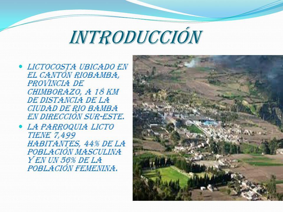 INTRODUCCIÓN Lictocosta ubicado en el cantón Riobamba, provincia de Chimborazo, a 18 Km de distancia de la ciudad de Rio bamba en dirección Sur-Este.