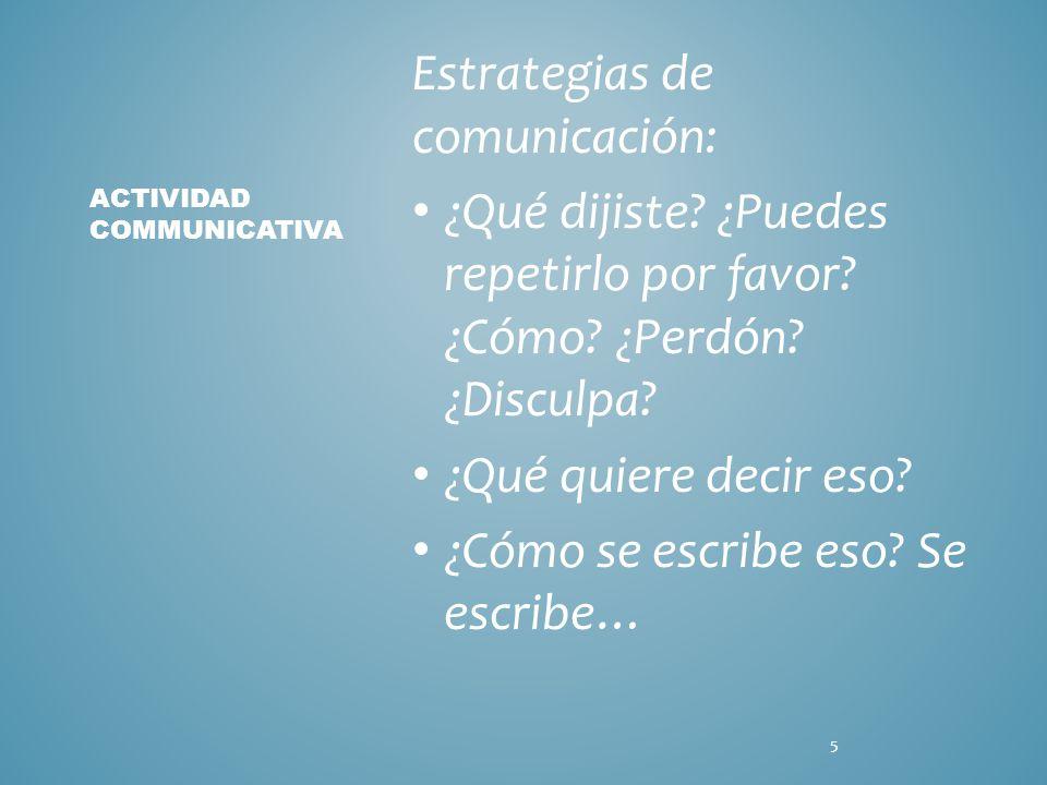 Estrategias de comunicación: ¿Qué dijiste. ¿Puedes repetirlo por favor.