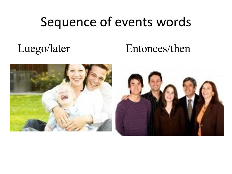 Sequence of events words Primero/first Despues/afterwards