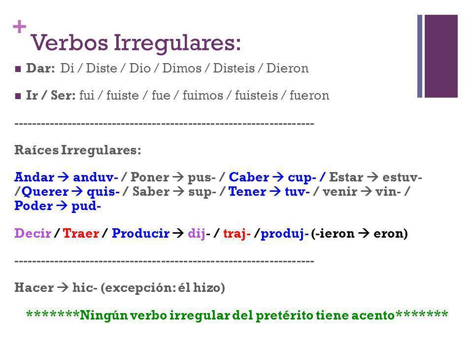 + Verbos Irregulares: Dar: Di / Diste / Dio / Dimos / Disteis / Dieron Ir / Ser: fui / fuiste / fue / fuimos / fuisteis / fueron ---------------------