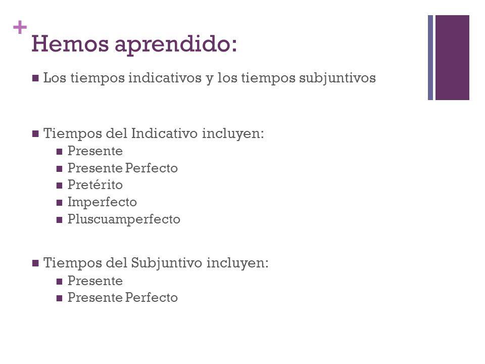 + Hemos aprendido: Los tiempos indicativos y los tiempos subjuntivos Tiempos del Indicativo incluyen: Presente Presente Perfecto Pretérito Imperfecto Pluscuamperfecto Tiempos del Subjuntivo incluyen: Presente Presente Perfecto