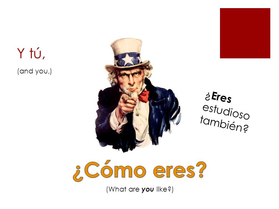 Y tú, (What are you like ) ¿ Eres estudioso también (and you,)