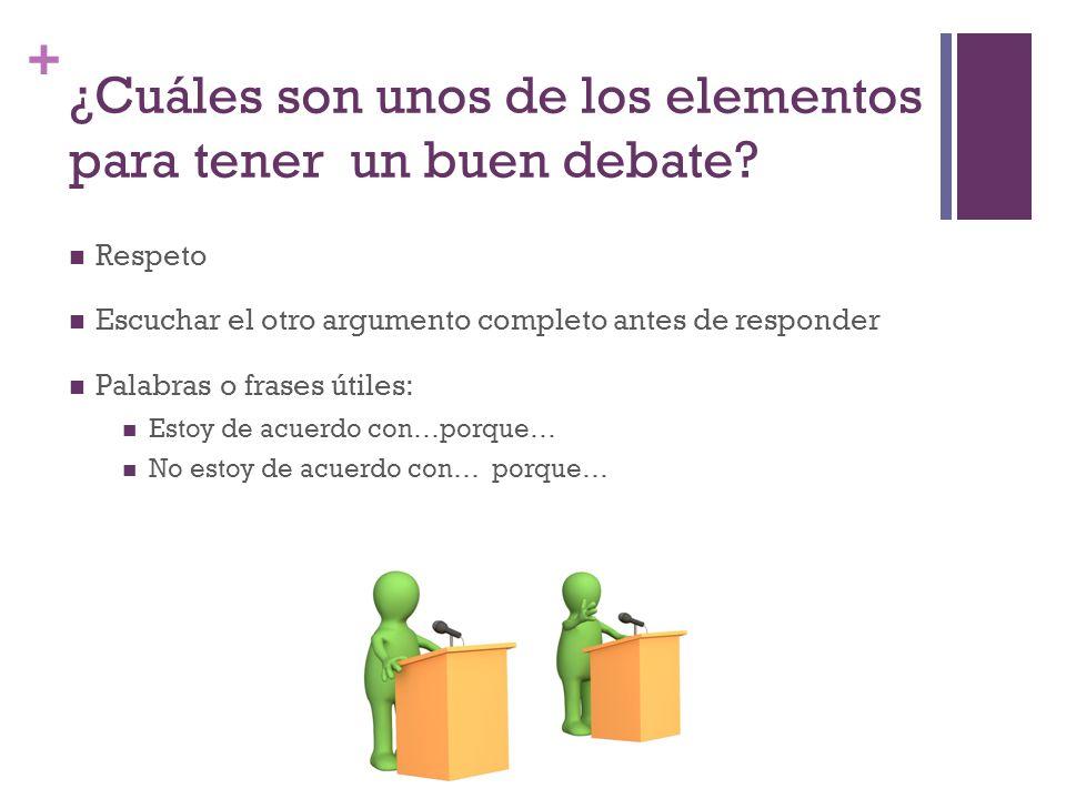 + ¿Cuáles son unos de los elementos para tener un buen debate.