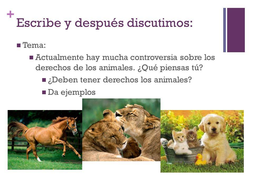 + Escribe y después discutimos: Tema: Actualmente hay mucha controversia sobre los derechos de los animales.