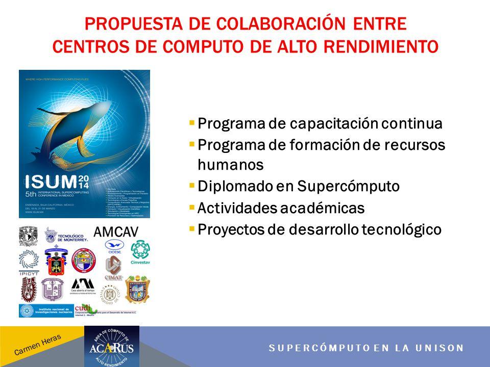 PROPUESTA DE COLABORACIÓN ENTRE CENTROS DE COMPUTO DE ALTO RENDIMIENTO SUPERCÓMPUTO EN LA UNISON Carmen Heras Programa de capacitación continua Progra