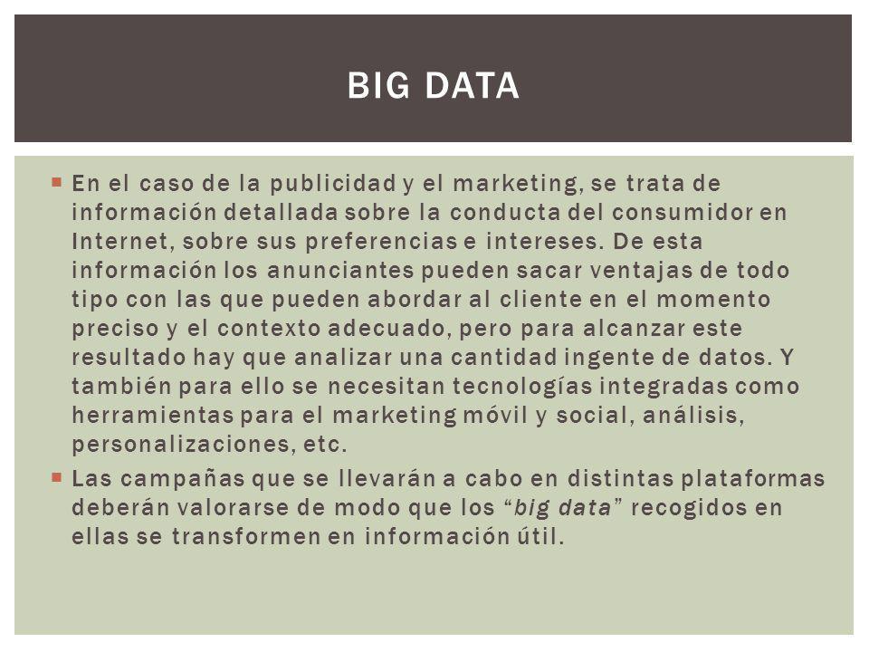 En el caso de la publicidad y el marketing, se trata de información detallada sobre la conducta del consumidor en Internet, sobre sus preferencias e intereses.