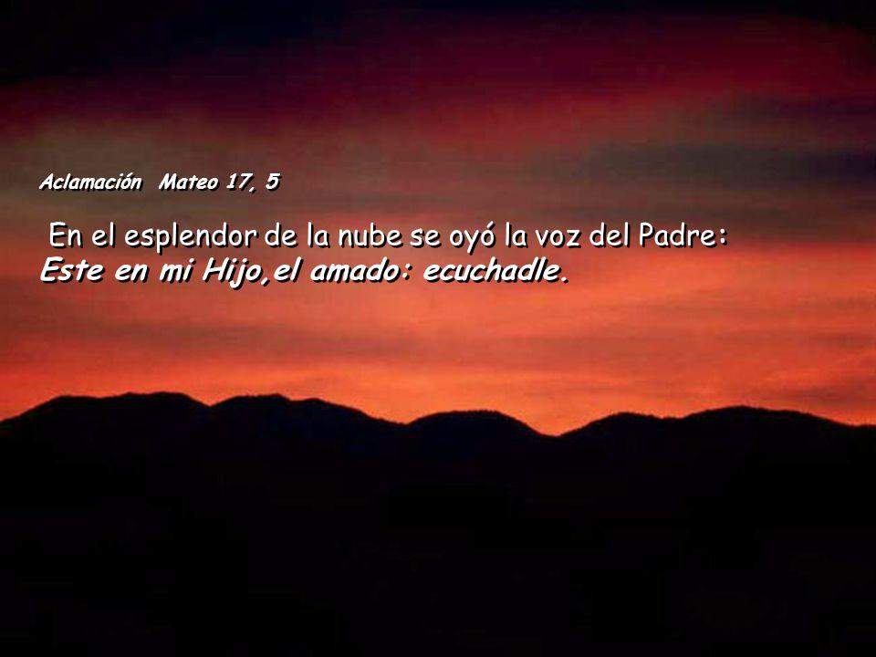 Aclamación Mateo 17, 5 En el esplendor de la nube se oyó la voz del Padre: Este en mi Hijo,el amado: ecuchadle.