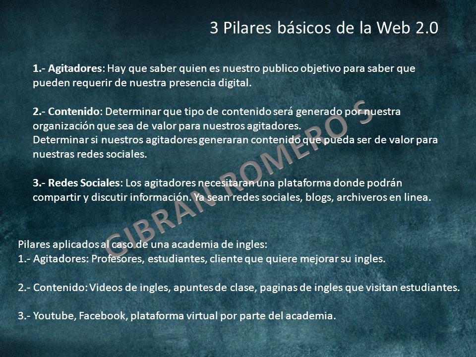 3 Pilares básicos de la Web 2.0 1.- Agitadores: Hay que saber quien es nuestro publico objetivo para saber que pueden requerir de nuestra presencia digital.