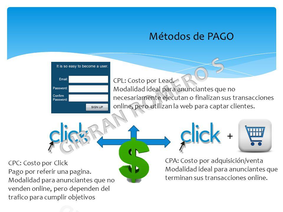 Métodos de PAGO CPL: Costo por Lead.
