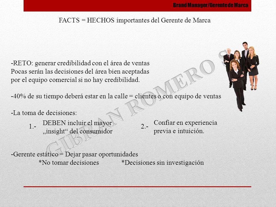 FACTS = HECHOS importantes del Gerente de Marca -RETO: generar credibilidad con el área de ventas Pocas serán las decisiones del área bien aceptadas p