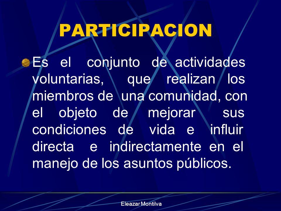 PARTICIPACION Es el conjunto de actividades voluntarias, que realizan los miembros de una comunidad, con el objeto de mejorar sus condiciones de vida