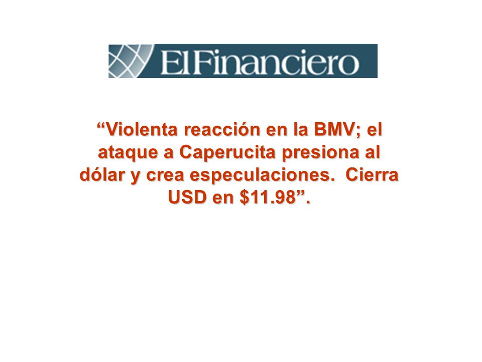 Violenta reacción en la BMV; el ataque a Caperucita presiona al dólar y crea especulaciones. Cierra USD en $11.98.