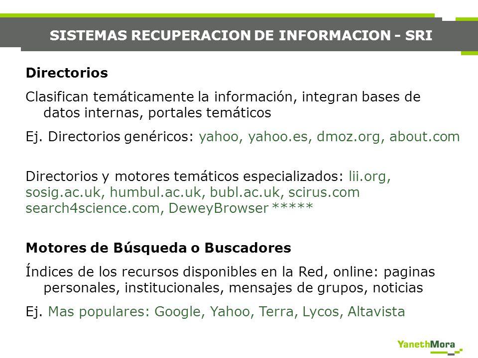 SISTEMAS RECUPERACION DE INFORMACION - SRI Directorios Clasifican temáticamente la información, integran bases de datos internas, portales temáticos E