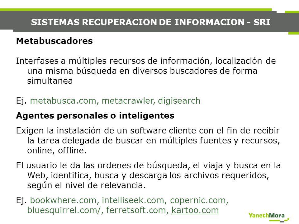 SISTEMAS RECUPERACION DE INFORMACION - SRI Metabuscadores Interfases a múltiples recursos de información, localización de una misma búsqueda en divers