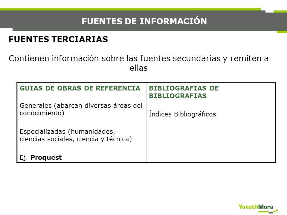 FUENTES DE INFORMACIÓN FUENTES TERCIARIAS Contienen información sobre las fuentes secundarias y remiten a ellas GUIAS DE OBRAS DE REFERENCIA Generales