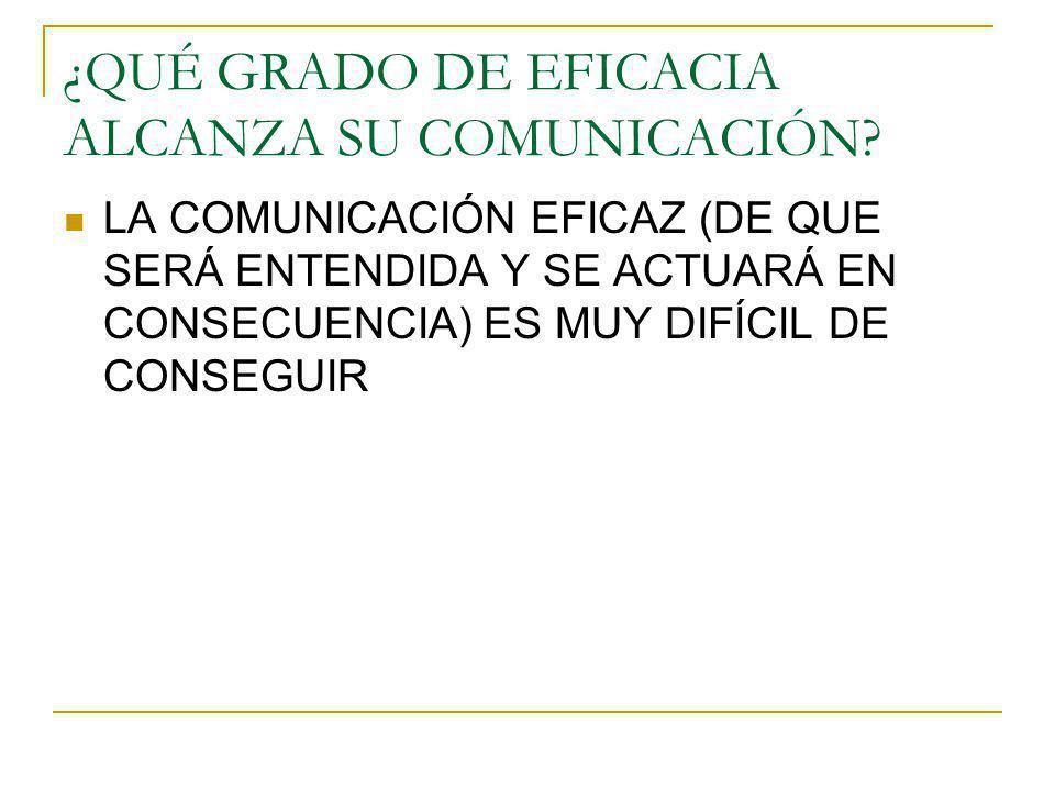 ¿QUÉ GRADO DE EFICACIA ALCANZA SU COMUNICACIÓN? LA COMUNICACIÓN EFICAZ (DE QUE SERÁ ENTENDIDA Y SE ACTUARÁ EN CONSECUENCIA) ES MUY DIFÍCIL DE CONSEGUI