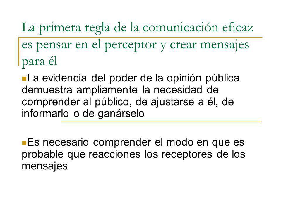 La primera regla de la comunicación eficaz es pensar en el perceptor y crear mensajes para él La evidencia del poder de la opinión pública demuestra a