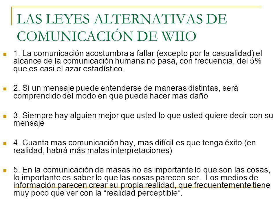 LAS LEYES ALTERNATIVAS DE COMUNICACIÓN DE WIIO 1. La comunicación acostumbra a fallar (excepto por la casualidad) el alcance de la comunicación humana