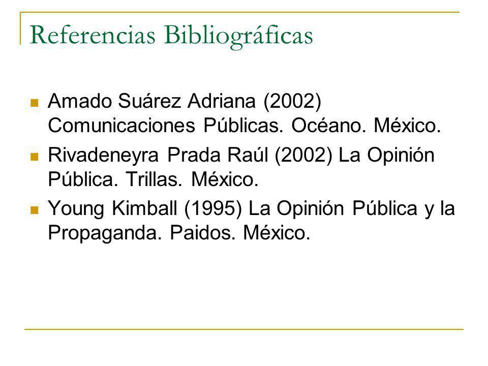 Referencias Bibliográficas Amado Suárez Adriana (2002) Comunicaciones Públicas. Océano. México. Rivadeneyra Prada Raúl (2002) La Opinión Pública. Tril