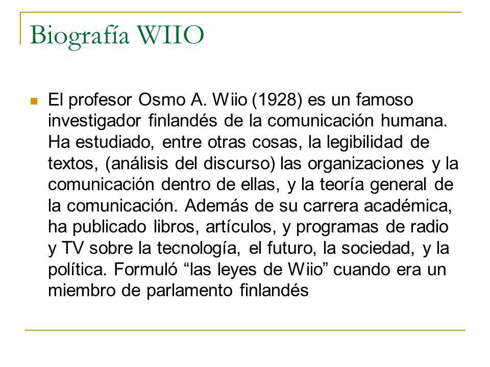Biografía WIIO El profesor Osmo A. Wiio (1928) es un famoso investigador finlandés de la comunicación humana. Ha estudiado, entre otras cosas, la legi