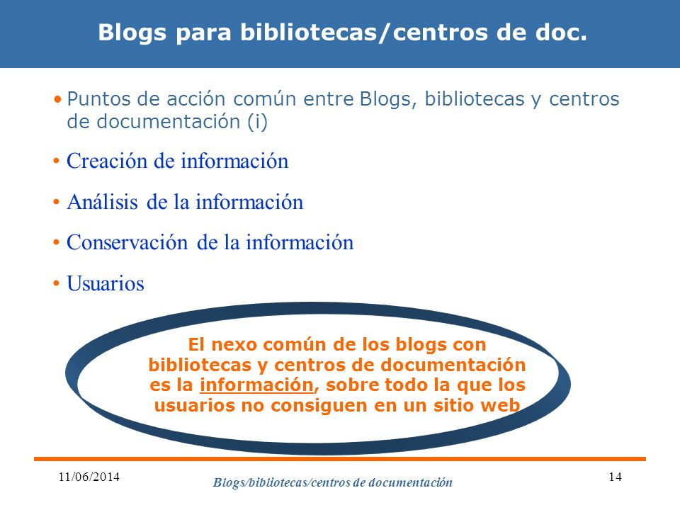 Blogs/bibliotecas/centros de documentación 11/06/201414 Puntos de acción común entre Blogs, bibliotecas y centros de documentación (i) Creación de inf
