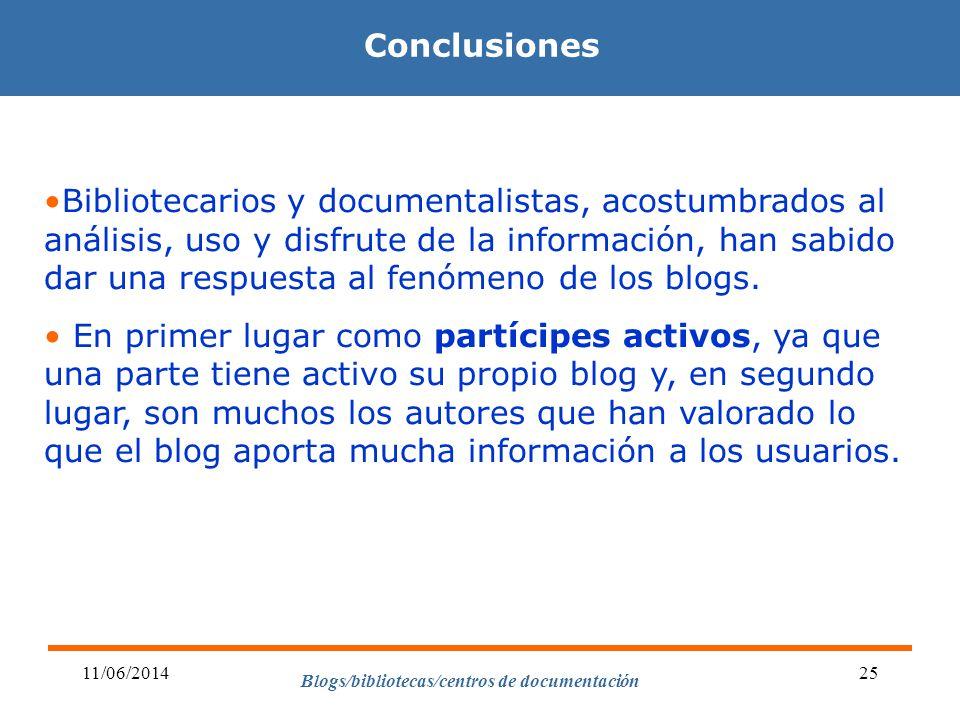 Blogs/bibliotecas/centros de documentación 11/06/201425 Conclusiones Bibliotecarios y documentalistas, acostumbrados al análisis, uso y disfrute de la información, han sabido dar una respuesta al fenómeno de los blogs.