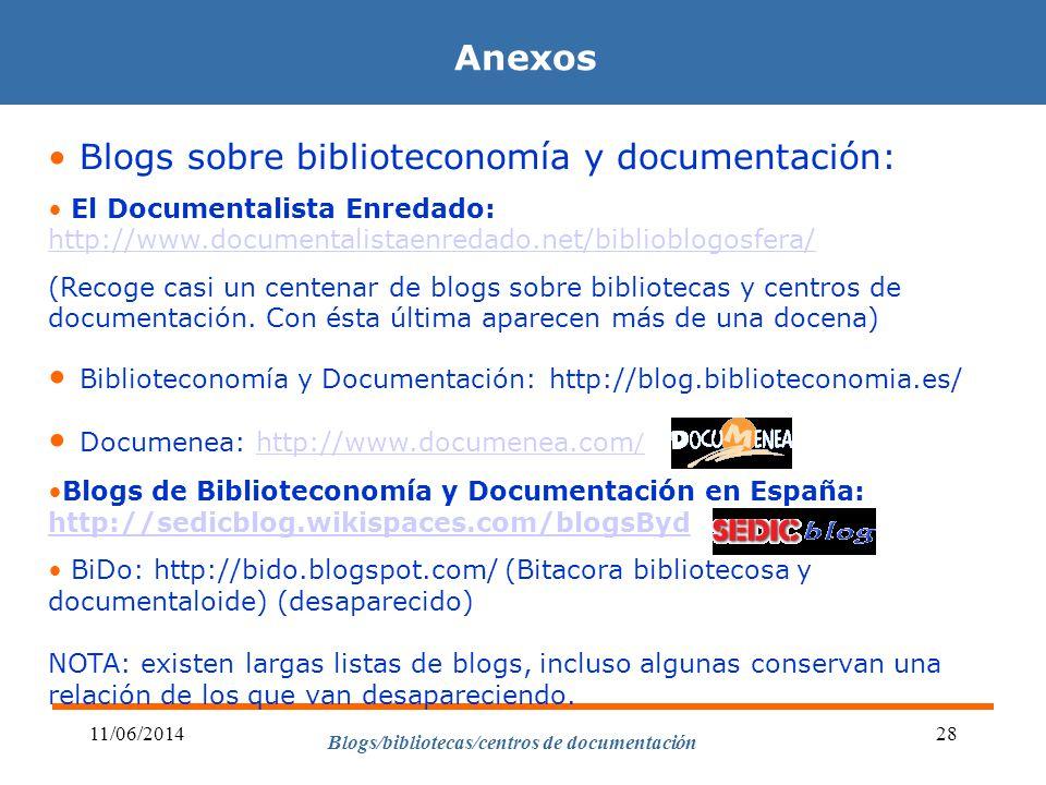 Blogs/bibliotecas/centros de documentación 11/06/201428 Anexos Blogs sobre biblioteconomía y documentación: El Documentalista Enredado: http://www.doc