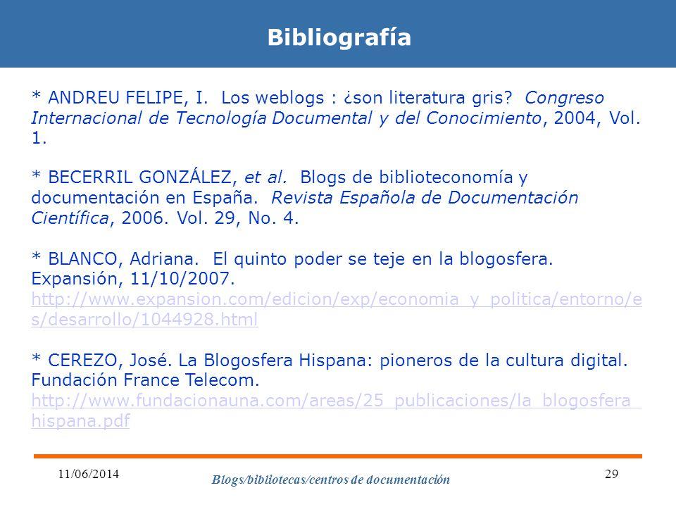Blogs/bibliotecas/centros de documentación 11/06/201429 Bibliografía * ANDREU FELIPE, I. Los weblogs : ¿son literatura gris? Congreso Internacional de