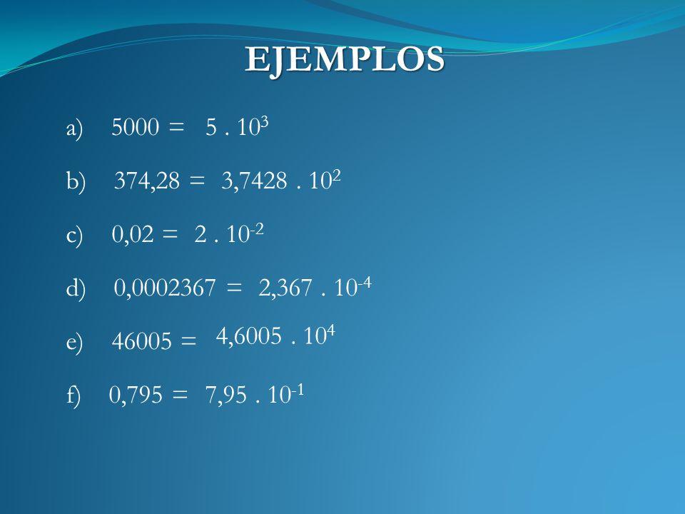 EJEMPLOS a) 5000 =5. 10 3 b) 374,28 =3,7428. 10 2 c) 0,02 = d) 0,0002367 = 2. 10 -2 2,367. 10 -4 e) 46005 = f) 0,795 = 4,6005. 10 4 7,95. 10 -1