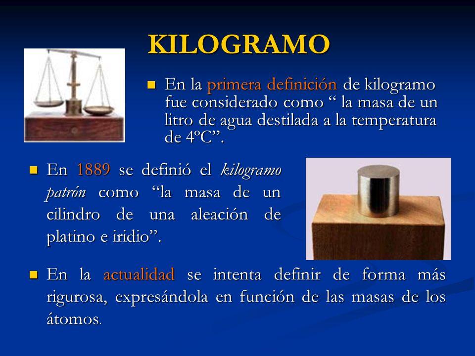 KILOGRAMO KILOGRAMO En la primera definición de kilogramo fue considerado como la masa de un litro de agua destilada a la temperatura de 4ºC. En la pr
