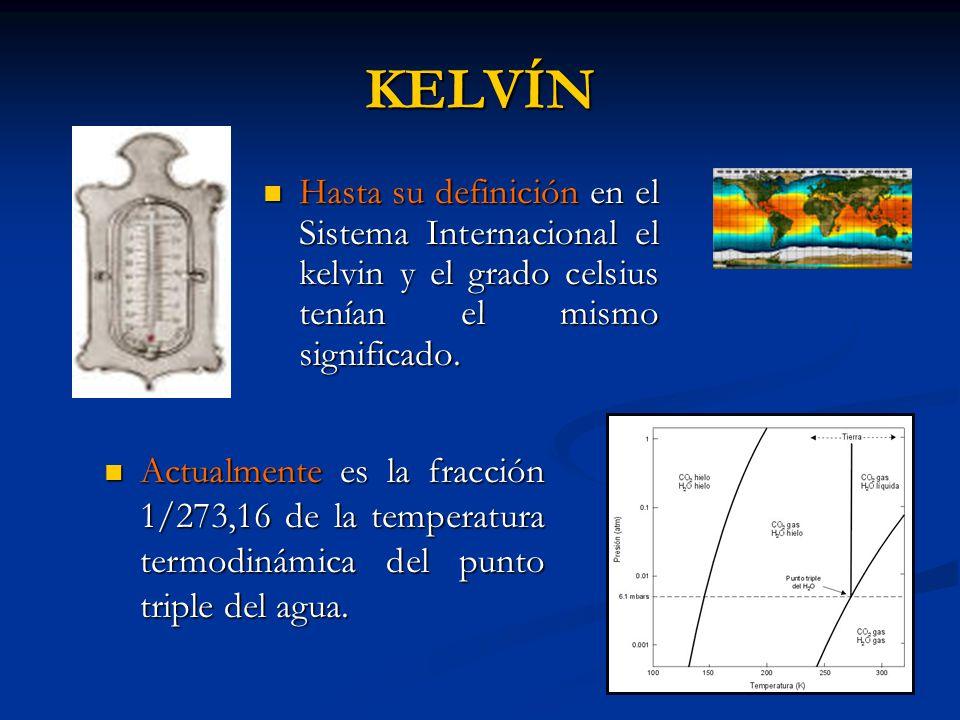 KELVÍN Hasta su definición en el Sistema Internacional el kelvin y el grado celsius tenían el mismo significado. Hasta su definición en el Sistema Int