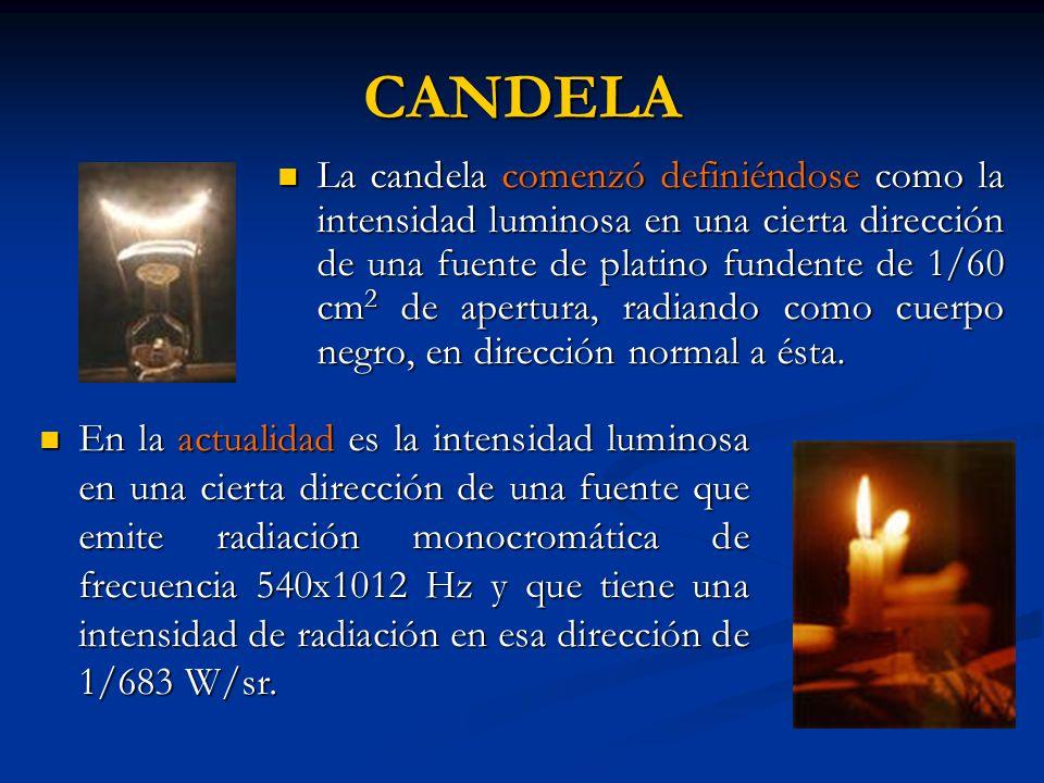 CANDELA La candela comenzó definiéndose como la intensidad luminosa en una cierta dirección de una fuente de platino fundente de 1/60 cm 2 de apertura