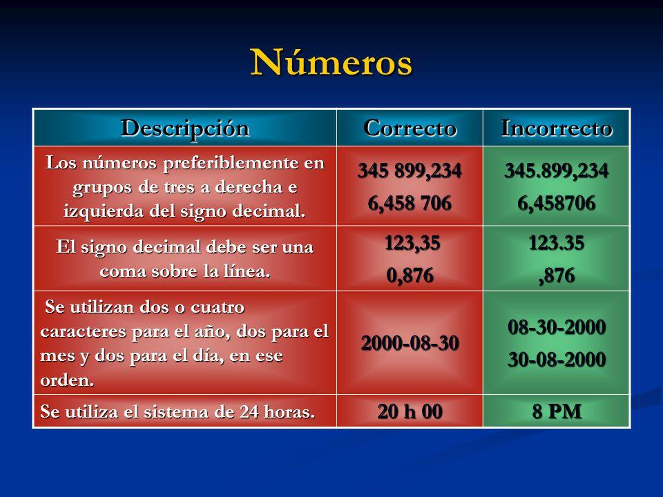 DescripciónCorrectoIncorrecto Los números preferiblemente en grupos de tres a derecha e izquierda del signo decimal. 345 899,234 6,458 706 345.899,234