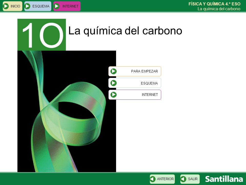 FÍSICA Y QUÍMICA 4.º ESO La química del carbono La química del carbono INICIO ESQUEMA INTERNET SALIRANTERIOR 1O PARA EMPEZAR ESQUEMA INTERNET