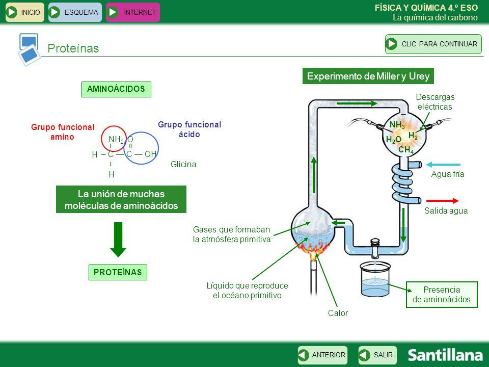 FÍSICA Y QUÍMICA 4.º ESO La química del carbono Proteínas ESQUEMA INTERNET SALIRANTERIORCLIC PARA CONTINUAR INICIO AMINOÁCIDOS Grupo funcional amino G