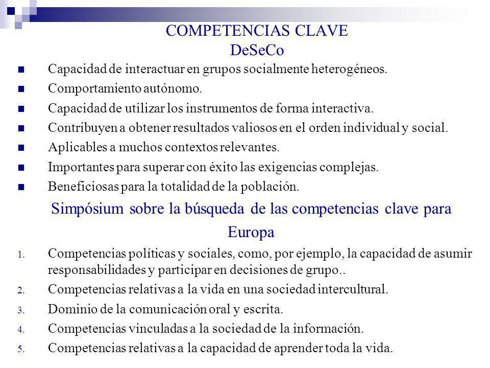 COMPETENCIAS CLAVE DeSeCo Capacidad de interactuar en grupos socialmente heterogéneos. Comportamiento autónomo. Capacidad de utilizar los instrumentos