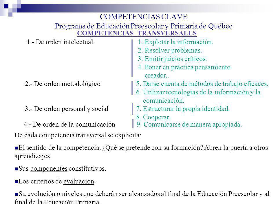 COMPETENCIAS CLAVE Programa de Educación Preescolar y Primaria de Québec COMPETENCIAS TRANSVERSALES 1.- De orden intelectual1. Explotar la información