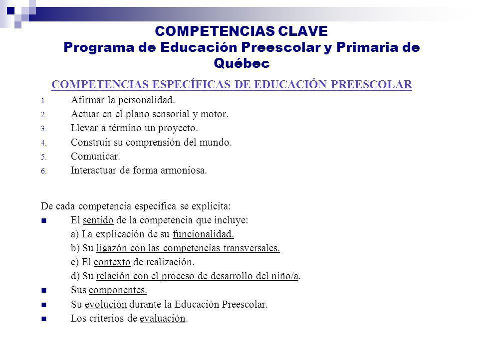 COMPETENCIAS CLAVE Programa de Educación Preescolar y Primaria de Québec 1. Afirmar la personalidad. 2. Actuar en el plano sensorial y motor. 3. Lleva