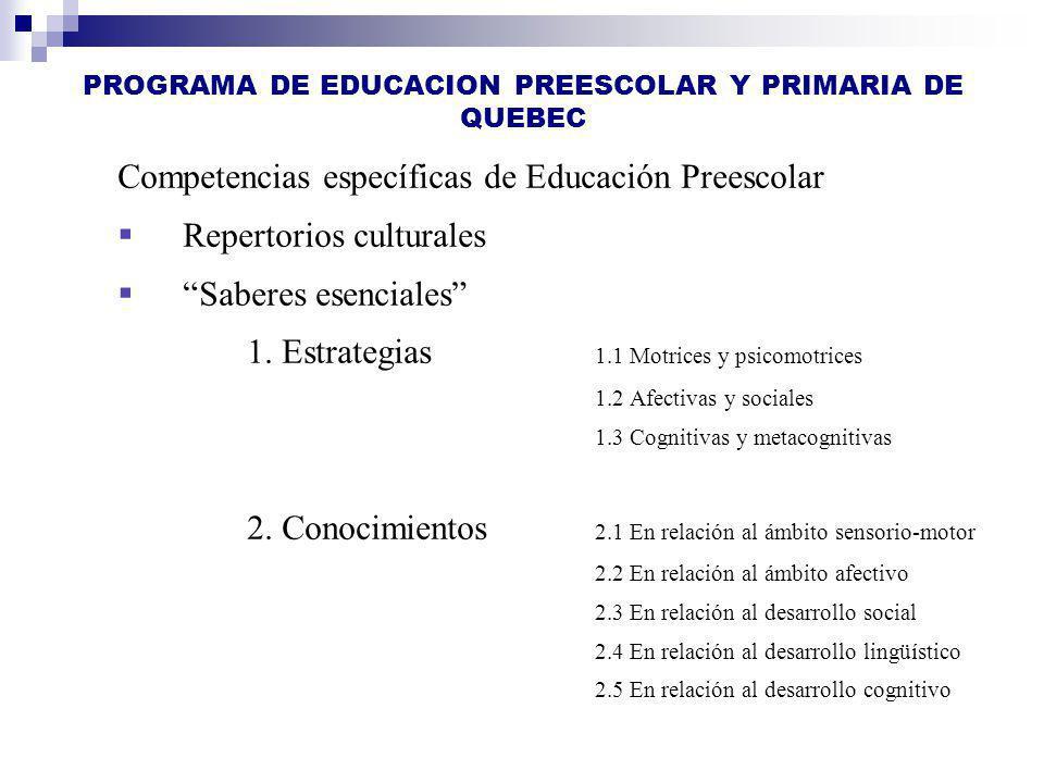 PROGRAMA DE EDUCACION PREESCOLAR Y PRIMARIA DE QUEBEC Competencias específicas de Educación Preescolar Repertorios culturales Saberes esenciales 1. Es