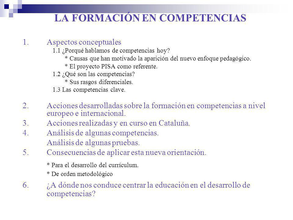 LA FORMACIÓN EN COMPETENCIAS 1.Aspectos conceptuales 1.1 ¿Porqué hablamos de competencias hoy? * Causas que han motivado la aparición del nuevo enfoqu