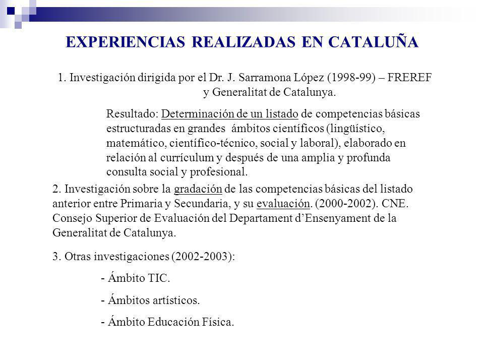 EXPERIENCIAS REALIZADAS EN CATALUÑA 1. Investigación dirigida por el Dr. J. Sarramona López (1998-99) – FREREF y Generalitat de Catalunya. Resultado: