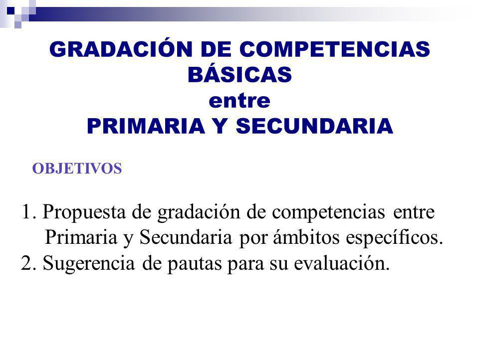GRADACIÓN DE COMPETENCIAS BÁSICAS entre PRIMARIA Y SECUNDARIA OBJETIVOS 1. Propuesta de gradación de competencias entre Primaria y Secundaria por ámbi