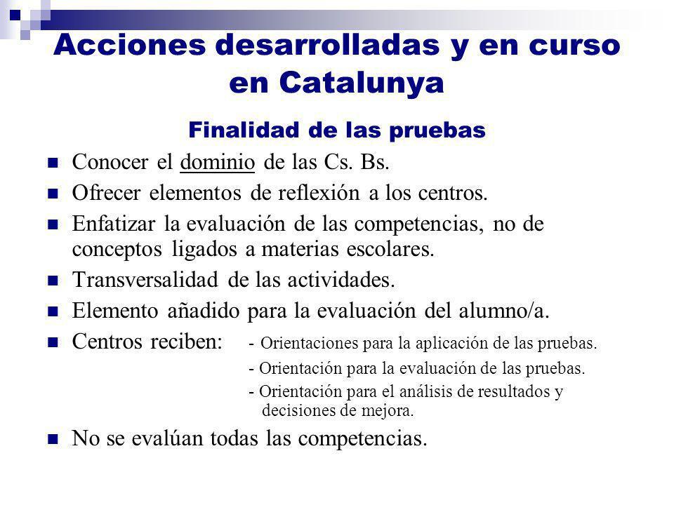 Acciones desarrolladas y en curso en Catalunya Finalidad de las pruebas Conocer el dominio de las Cs. Bs. Ofrecer elementos de reflexión a los centros