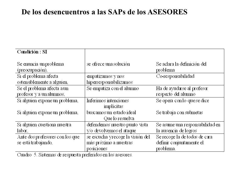 De los desencuentros a las SAPs de los ASESORES