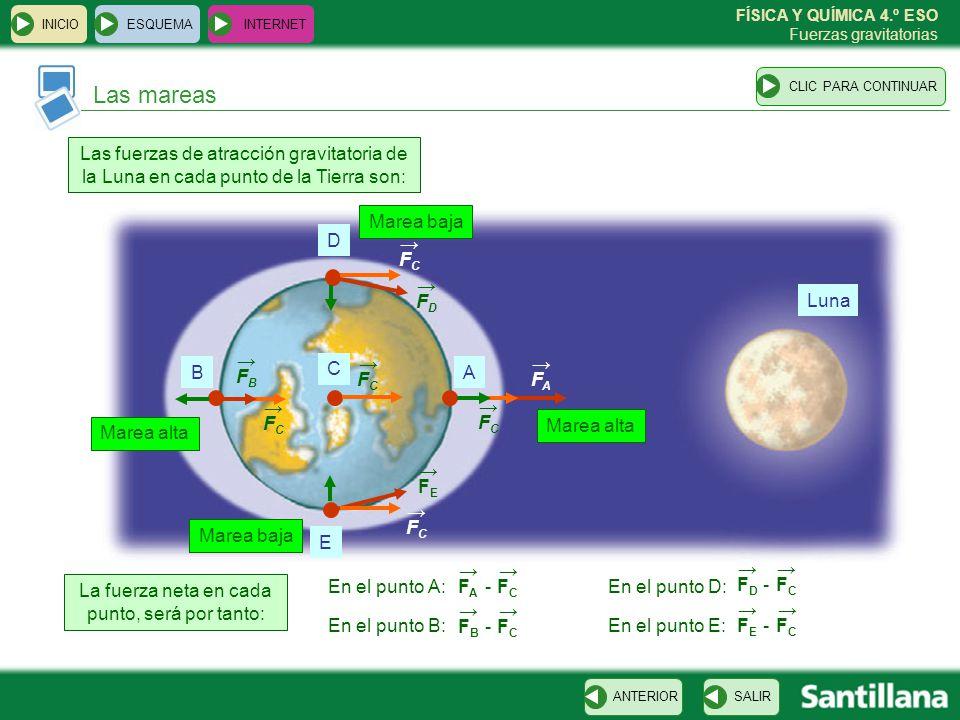 FÍSICA Y QUÍMICA 4.º ESO Fuerzas gravitatorias Las mareas ESQUEMA INTERNET SALIRANTERIORCLIC PARA CONTINUAR INICIO Luna D E AB C Las fuerzas de atracc