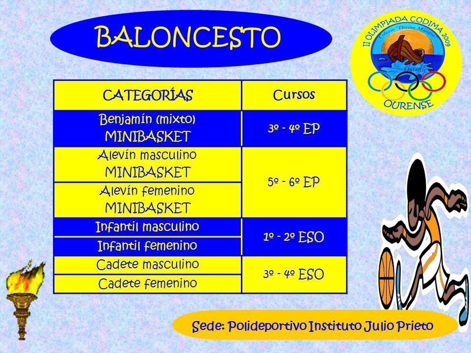 CATEGORÍASCursos Benjamín (mixto) MINIBASKET 3º - 4º EP Alevín masculino MINIBASKET 5º - 6º EP Alevín femenino MINIBASKET Infantil masculino 1º - 2º E