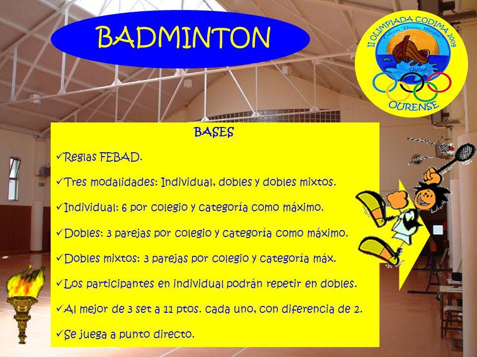 BASES Reglas FEBAD. Tres modalidades: Individual, dobles y dobles mixtos. Individual: 6 por colegio y categoría como máximo. Dobles: 3 parejas por col